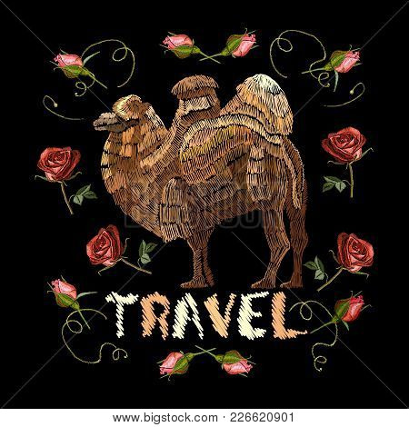 Embroidery Camel. Portrait Of Beautiful Camel And Red Roses Template For Fashion Clothes, Textiles,