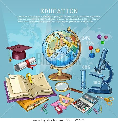 Education Background. Open Book Of Knowledge. Symbol Of Education, Mathematics, Chemistry, Physics.