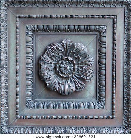 Ornate Vintage Bronze Door Panel. Floral Design Bronze Door Insert With Intricate Detail And Frames,