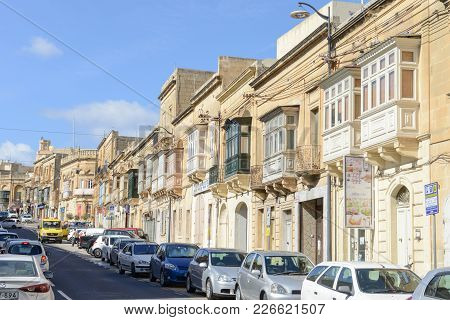 Traditional Balconies Of Houses In Victoria On Gozo Island