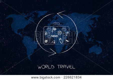 Exploring The Globe Conceptual Illustration: Luggage Surrounded By Repeat Sign Over World Map Overla