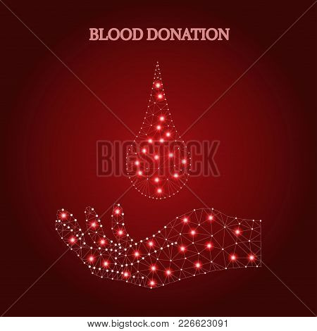 Polygonal Hand Holds Of Blood Drop Droplet , Isolated On White Background. Low Poly Polygon Design.