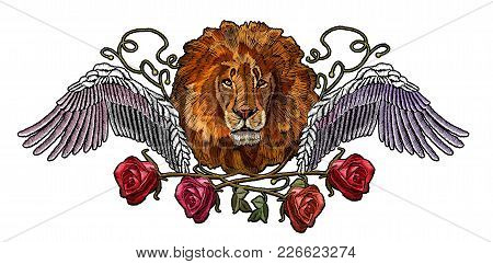 Embroidery Lion Wings And Roses. Embroidery Lion. Fashion Modern Embroidery Lion Head Roses And Wing