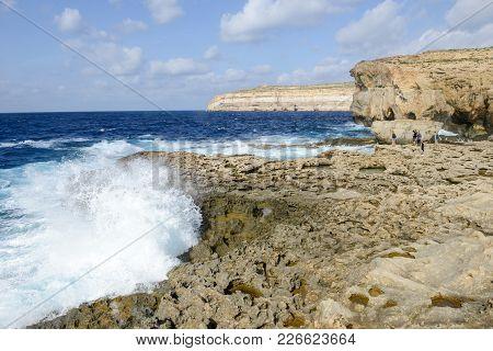 The Rocky Coast Near Missing Azure Window In Gozo Island, Malta.