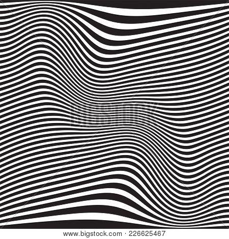 Abstract Geometric Background. Wavy Black White Pattern. Vector Illustration. Futuristic Monochrome