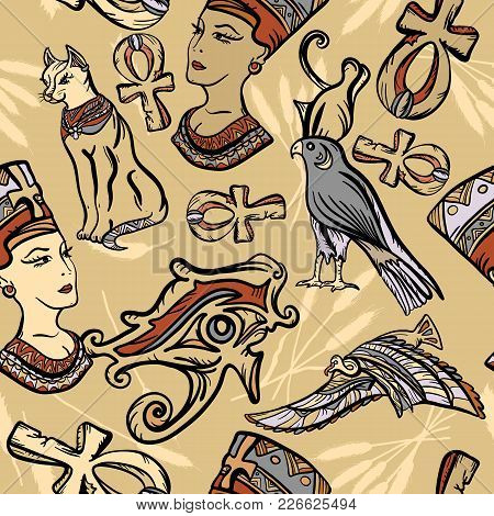 Ancient Egypt Seamless Pattern, Old School Tattoo. Classic Flash Tattoo Style Egypt, Patches And Sti