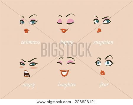 Woman Character Expressions Set. Avatar. Calmness, Happy, Suspicion, Fear, Angry, Laughter, Sadness,
