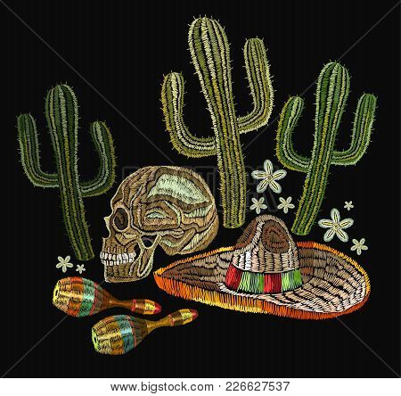 Embroidery Mexican Culture. Human Skull, Sombrero, Maracases, Cactus. Classical Ethnic Embroiderys K