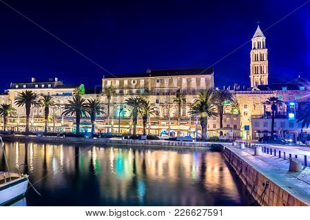 Scenic View At Evening Time In Coastal Town Split, Famous European Summer Travel Destination In Euro