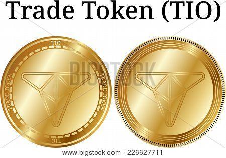 Set Of Physical Golden Coin Trade Token (tio), Digital Cryptocurrency. Trade Token (tio) Icon Set. V