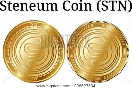 Set Of Physical Golden Coin Steneum Coin (stn), Digital Cryptocurrency. Steneum Coin (stn) Icon Set.