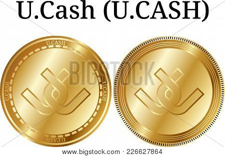 Set Of Physical Golden Coin U.cash (u.cash), Digital Cryptocurrency. U.cash (u.cash) Icon Set. Vecto