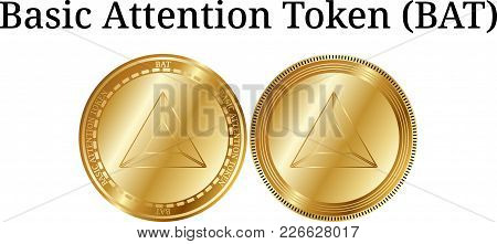 Set Of Physical Golden Coin Basic Attention Token (bat), Digital Cryptocurrency. Basic Attention Tok