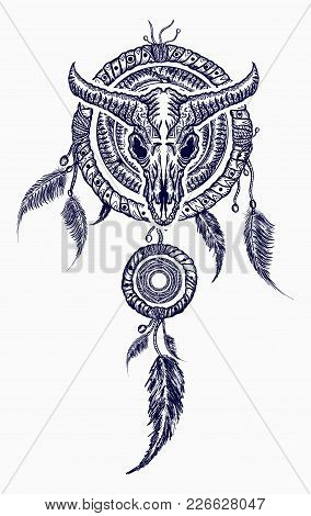 Bison Skull And Indian Dream Catcher Tattoo. Tribal Art. Native American Culture. Wild West Western