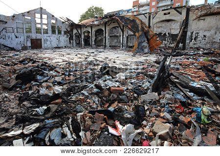 Scattered Debris In Garment Factory After Fire Damage