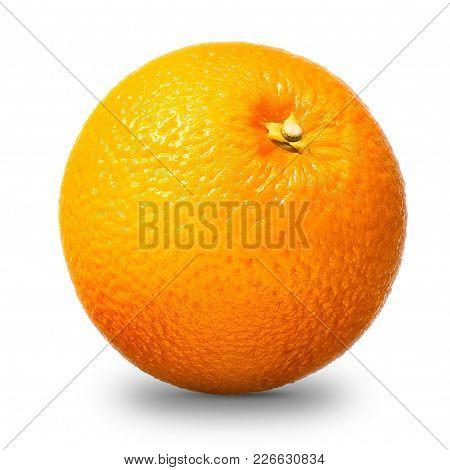 Fresh Single Orange Fruit Isolated On White Background With Clipping Path