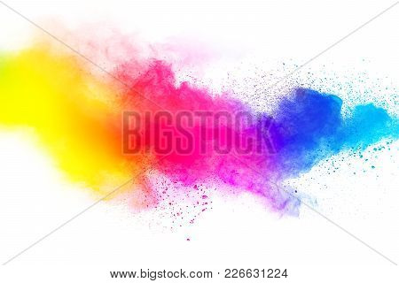 Abstract Multicolored Dust Splatter On White Background.freeze Motion Of Color Powder Explosion On W