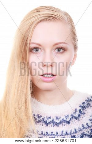 Orthodontist Dentistry Treatment Concept. Woman Showing Her Dental Braces On Teeth, Closeup
