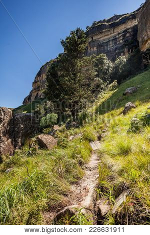 Mountain Landscape. Pathway Leading To The Mountains In South Africa. South African Hiking.