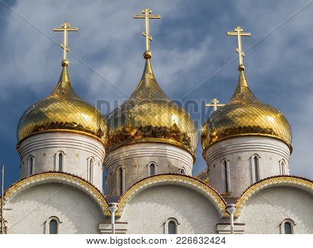 Domes Of The Orthodox Church. The Holy Ascension Church Of The Elizaveta Monastery In Kropyvnytskyi,