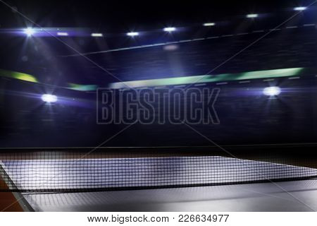 Ping Pong Table Tennis Background 3d Render Night Lights