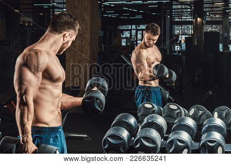 Good Looking Young Man Lifting Dumbbells And Working On His Biceps In Front Of A Mirror Looking On H