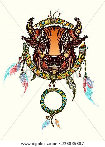 Indian Dream Catcher With Ethnic Ornaments And Ethnic Bull Head. Boho Native American Style T-shirt