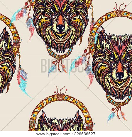 Indian Dream Catcher With Ethnic Ornaments And Ethnic Tribal Head Wolf Seamless Pattern. Boho Native
