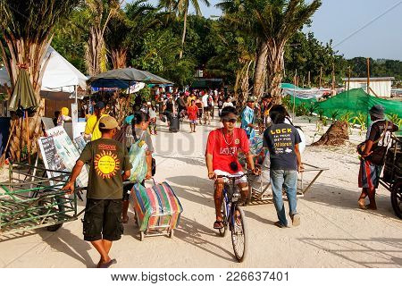 Krabi, Thailand - December 1: Unidentified People Walk In Ton Sai Village On Phi Phi Don Island On D