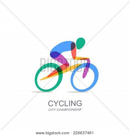 Vector Cycling Logo, Icon, Emblem. Human On Bike, Isolated Illustration. Concept For Marathon, Race,