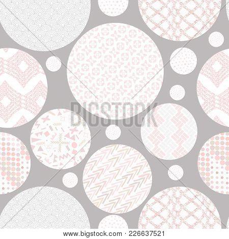 Hand Drawn Marker And Ink Seamless Circles Patterns. Hand Drawn Circles, Triangles, Squares, Snowfla