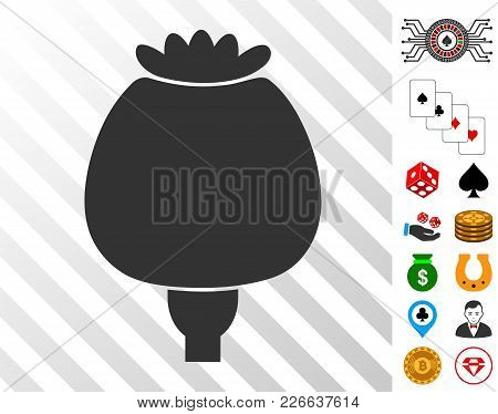 Opium Poppy Icon With Bonus Gambling Pictures. Vector Illustration Style Is Flat Iconic Symbols. Des