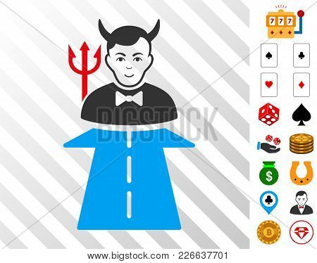 Road To Hell Monster Pictograph With Bonus Gambling Clip Art. Vector Illustration Style Is Flat Icon