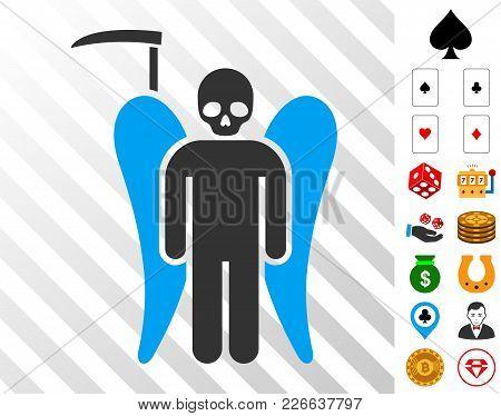 Scythe Death Angel Icon With Bonus Gamble Pictographs. Vector Illustration Style Is Flat Iconic Symb