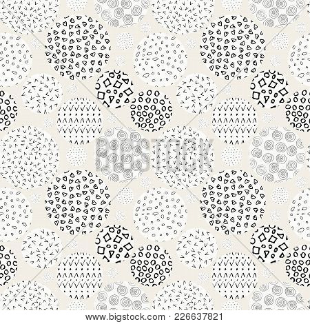 Hand Drawn Marker And Ink Seamless Patterns. Hand Drawn Circles, Triangles, Squares, Snowflakes, Hea