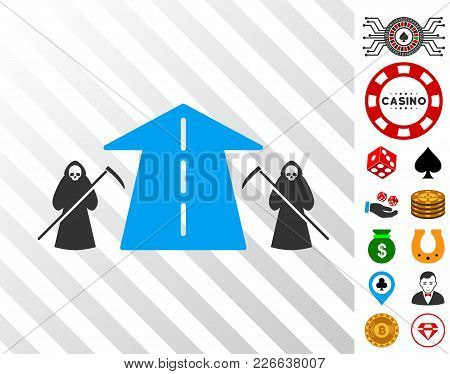 Scytheman Future Road Pictograph With Bonus Casino Pictographs. Vector Illustration Style Is Flat Ic