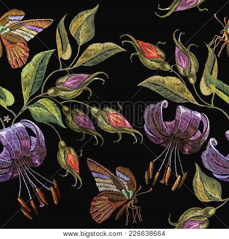 Embroidery Tiger Lillies And Butterfly Seamless Pattern. Template For Clothes, Textiles, T-shirt Des