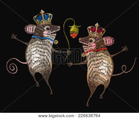 Embroidery Mouse King And Queen.  Two Cheerful Mice Are Danced In Flowers Classical Embroidery. Temp