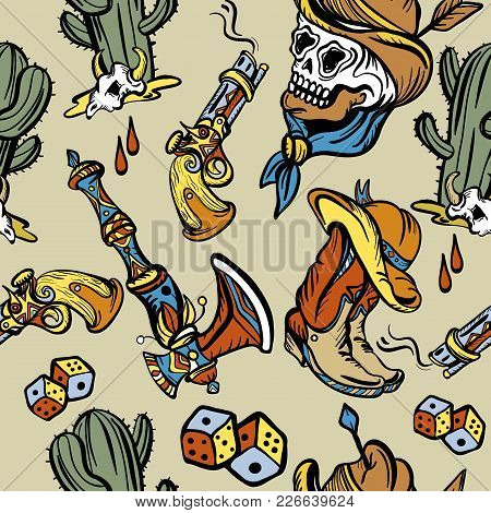 568d25070dcd0 Wild west seamless pattern, old school tattoo vector. Classic flash tattoo  style, patches and stickers. Fashionable western set