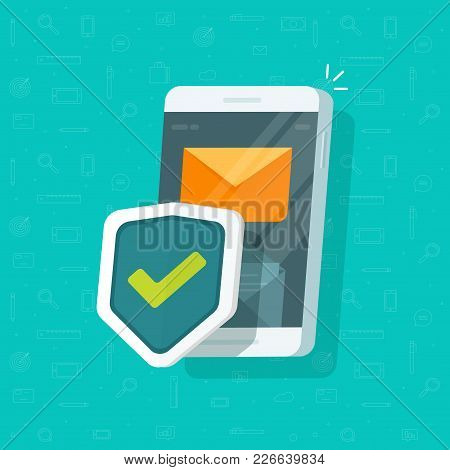 Smartphone Protection Vector Illustration, Flat Cartoon Design Of Mobile Phone With Security Shield,