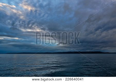 A View Of Clouds Over The Puget Sound In The Pacific Northwest.