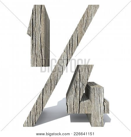 Conceptual wood or wooden brown font or type, timber or lumber industry piece isolated on white background. Educative hardwood material, surface vintage old handmade sculpted object as 3D illustration