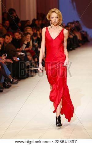 Kyiv, Ukraine - February 5, 2018: Model Walks The Runway At Katerina Kvit Collection Show During Ukr
