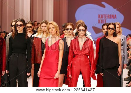 Kyiv, Ukraine - February 5, 2018: Models Walk The Runway At Katerina Kvit Collection Show During Ukr