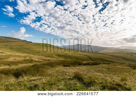 Cloudy Yorkshire Dales Landscape Near The Nine Standards Rigg, Near Kirkby Stephen, Cumbria, Uk