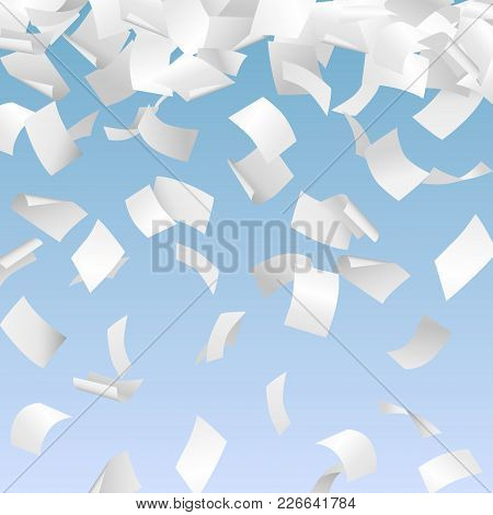 Vector Illustration Of 3d Falling White Papers - Paperwork, Documents, Advertisement, Bureaucracy Co