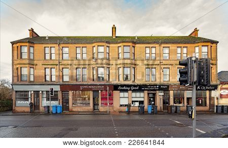 Clydebank, Scotland - January 20, 2018: A Red Sandstone Tenement At The Bottom End Of Kilbowie Road