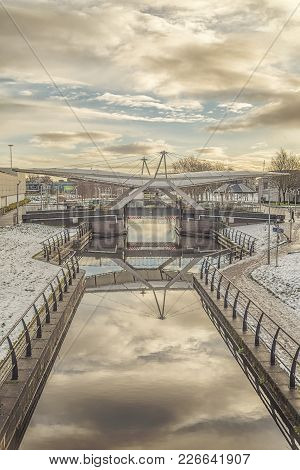 The Forth And Clyde Canal Bridge At The Junction Of Parts One And Two Of The Clydebank Shopping Cent