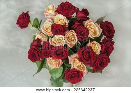 Bouquet Of Roses Of Bright Colors For Beloved, Top View, Symbol Of Love, Romantic Celebrations, Card