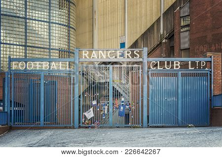 Glasgow, Scotland - January 17, 2018: A View Of The World Famous Ibrox Stadium Which Is Home To Rang